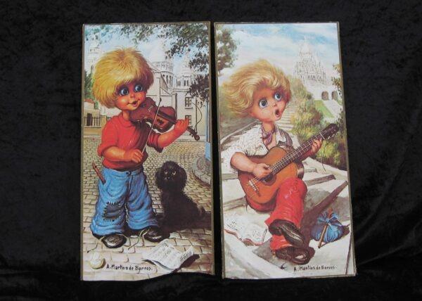 Vintage Pair Big Eyes Pictures Martins De Barros Blond Boy Musical 60s 70s