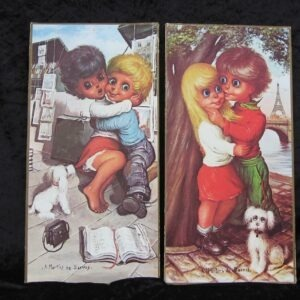 Vintage Pair Big Eyes Pictures Martins De Barros Boy Girl Sweethearts 60s 70s