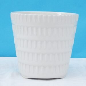 Vintage Embossed Plant Pot Indoor Use White Ceramic Made in England