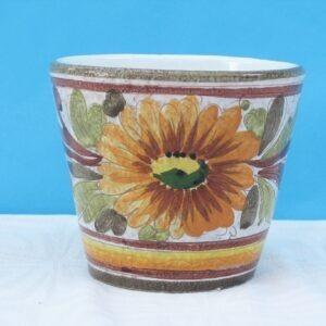 Vintage Handmade Ceramic Floral Plant Pot Indoor Use