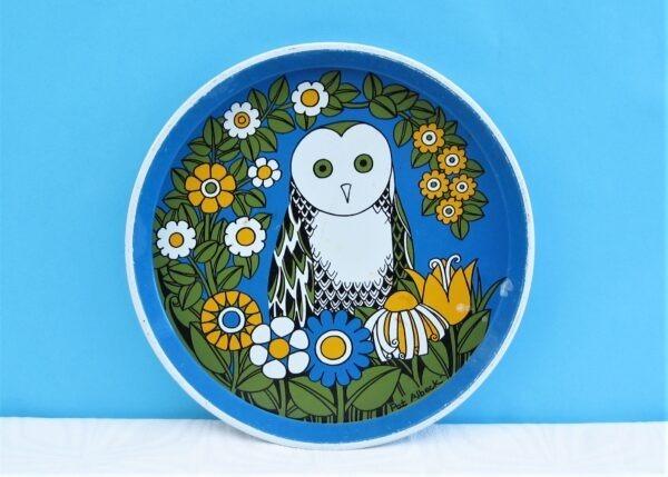 Vintage Pat Albeck Owl Tin Tray Flower Power Round 60s 70s