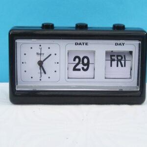 Vintage Retro Style Flip Over Alarm Clock Perpetual Calendar Black