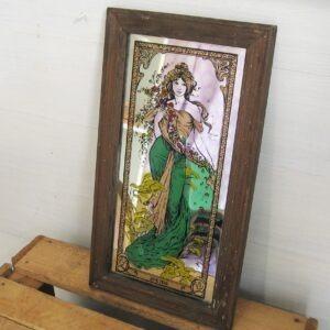 Vintage Art Nouveau Mucha Style Printed Mirror Wooden Frame 1970s