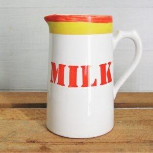 Vintage Arthur Wood Tall Milk Jug Orange Yellow Stripe & Stencil Lettering 1980s