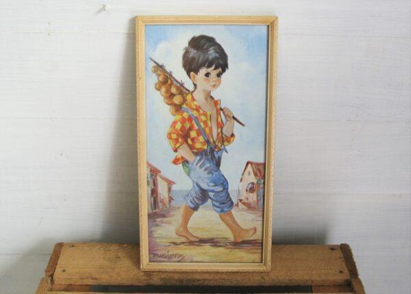 Vintage Big Eyes Picture Dallas Simpson Boy Onion Seller 60s 70s