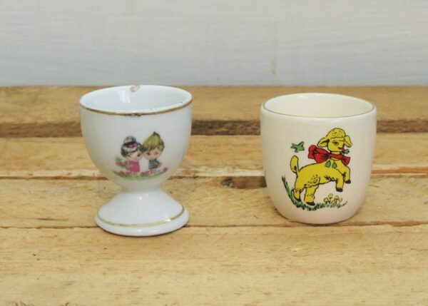 Vintage Childs Ceramic Egg Cups x2 Yellow Lamb & Little Girls