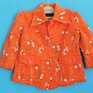 Vintage Childs Crimplene Jacket Shirt Boy Girl Orange Floral 60s 70s