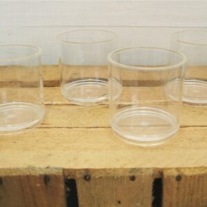 Vintage Clear Plastic Beakers x4 Picnic Camping Campervan by Style Italy 80s