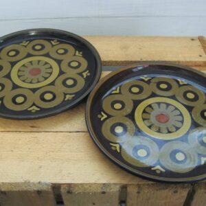 Vintage Denby Arabesque x2 Salad Dessert Plates 8 inch Stoneware 1970s