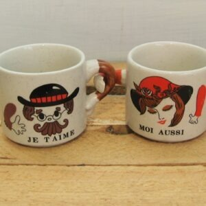 Vintage French Couple Mugs Love J'Taime Linked Handles by Grés