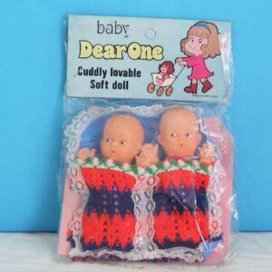 Vintage Hong Kong Twin Baby Dolls Small in Cot Bed Clothes 70s 80s