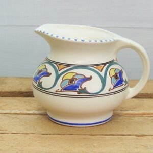 Vintage Honiton Pottery Deco Style Jug Hand Painted 1950s