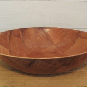 Vintage Large Bamboo Bowl Chequerboard Design 70s 80s