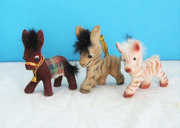 Vintage Mini Flock Donkey Toys Kitsch Holiday Souvenirs 60s 70s - 3 to Choose from