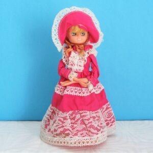 Vintage Musical Doll Money Box Pink Crinoline Lady Plays Love Story 1970s