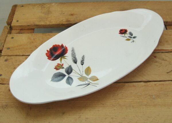 Vintage Palissy Carmen Red Rose Oval Sandwich Plate Mid Century 50s 60s