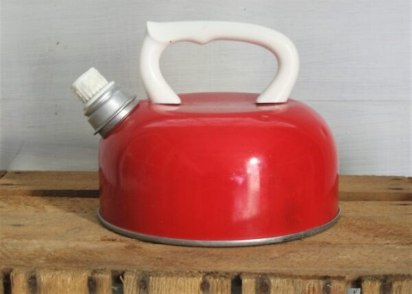 Vintage Red White Whistling Kettle Stove Top 80s Camping Campervan