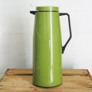 Vintage Tall Thermos Flask Insulated Jug Green 70s 80s.