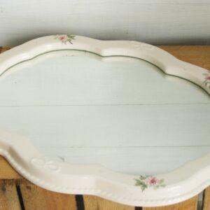 Vintage White Ceramic Rose & Bow Framed Mirror Shabby Chic 1980s