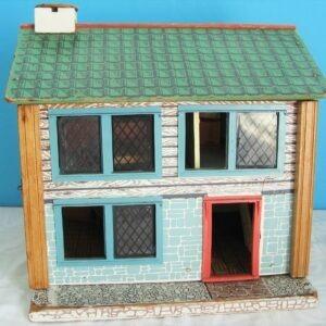 Vintage Wooden Dolls House 2 Floors 4 Rooms Closing Front Door 50s 60s