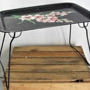 Vintage Worcester Ware Metal Breakfast Tray Folding Camping Table 50s 60s