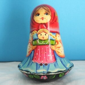 Vintage Babushka Wobble Russian Doll Bell Chime Hand Painted