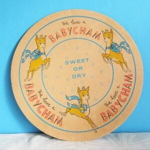 Vintage Babycham Large Beer Mat Drinks Coaster Leaping Fawn 1970s