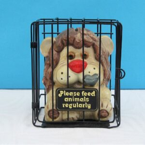 Vintage Ceramic Money Box Cute Lion in a Cage 1980s Made In Taiwan