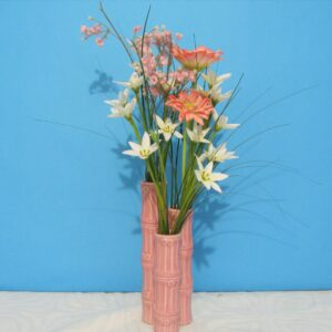 Vintage Pink Ceramic Bamboo Vase with Silk Flowers 70s