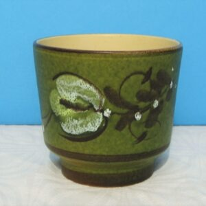 Vintage Ceramic Planter Indoor Plant Pot Green Abstract Floral Stoneware 1970s