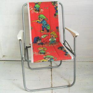 Vintage Child's Deckchair Cartoon Print Orange