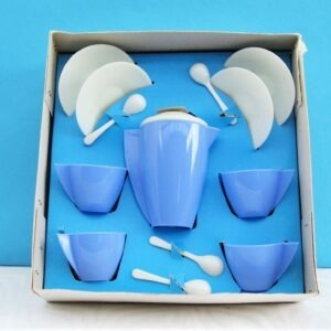 Vintage Childs Toy Coffee Set Blue Plastic in Original Box 70s 80s Pretend Play