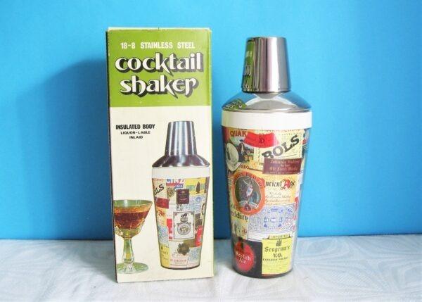 Vintage Boxed Cocktail Shaker Stainless Steel Drinks Brands Label Design 1980s