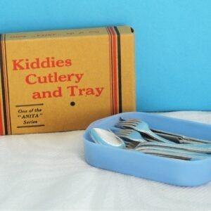 Vintage Dolls Tea Party Kiddies Cutlery and Tray Anita Series 50s 60s