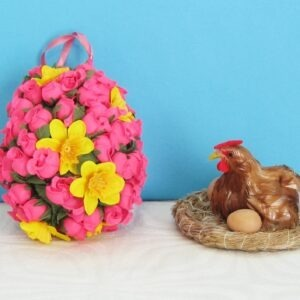 Vintage Easter Decorations Ornaments - Hanging Floral Egg or Chicken in Nest