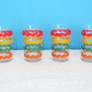 Vintage French Colourful Drinks Glasses Small Tumbler x4 70s 80s