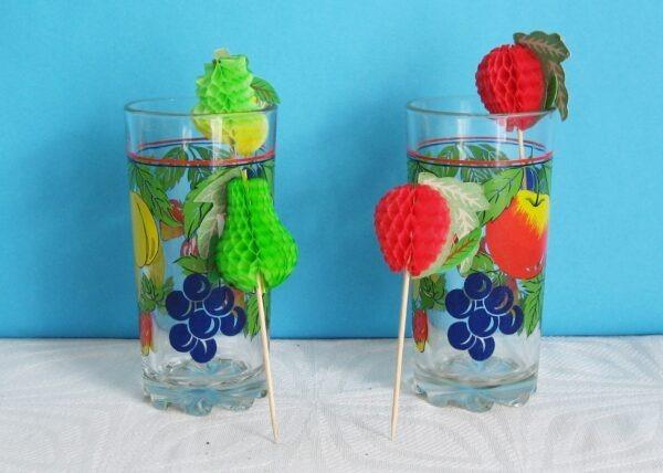 Vintage Fruit Design Glass Tumblers x2 Plus Fruit Shaped Honeycomb Cocktail Sticks x4 1980s