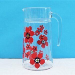 Vintage Glass Drinks Pitcher Jug Red Flower Power Summer Picnic 70s 80s