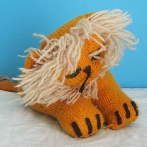 Vintage Hand Knitted Lion Orange