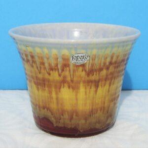 Vintage Jopeko Ceramic Planter Plant Pot Abstract Stripe W Germany 60s 70s