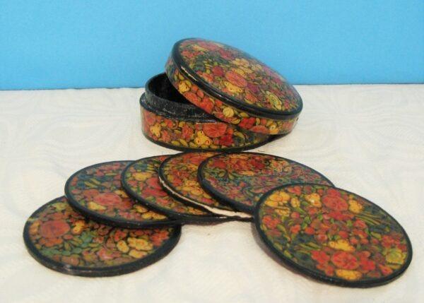 Vintage-Kashmiri-Papier-Mache-6x-Coaster-Set-In-Box-Hand-Made