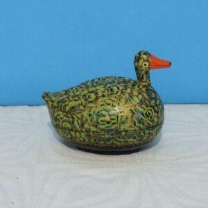 Vintage Kashmiri Papier Mache Duck & Egg Shaped Trinket Pot Hand Made India