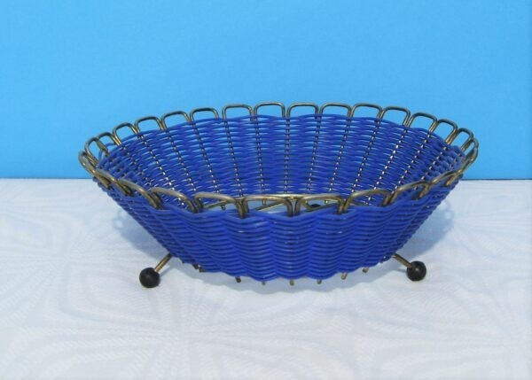 Vintage Mid Century Blue Atomic Planter Wicker Basket with Ball Feet 1960s