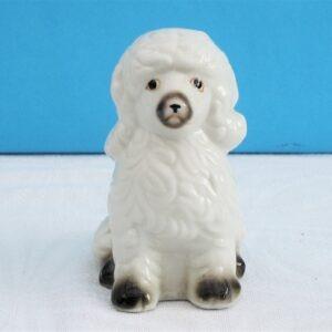 Vintage Mid Century Ceramic White Poodle Ornament Kitsch 50s 60s