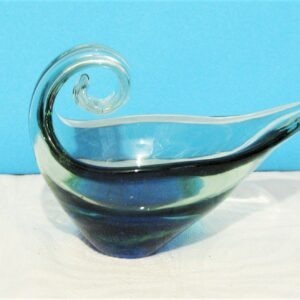 Vintage Murano Scroll Handle Heavy Glass Dish Double Wall Blue Inside 70s 80s