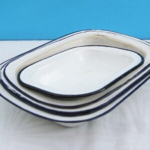 Vintage Rectangular Enamel Pie Baking Dishes Various Sizes 60s 70s