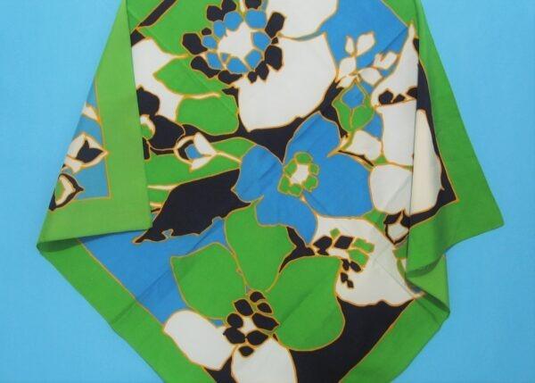 Vintage Square Satin Scarf Large Flower Power Design Green Blue Polyester 1970s