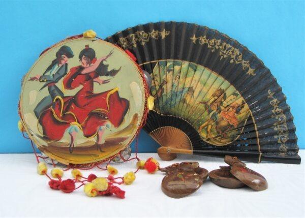 Vintage Spanish Holiday Souvenirs Flamenco Memorabilia 50s 60s - Choose Fan, Tambourine or Castanets