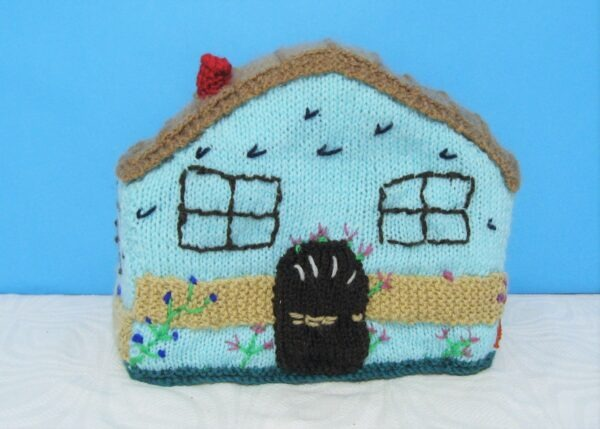 Vintage Tea Cosy Hand Knitted House or Cottage Shaped Recent Make