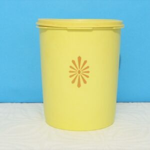 Vintage Yellow Tupperware Food Storage Container Fan Lid Sunburst 60s 70s